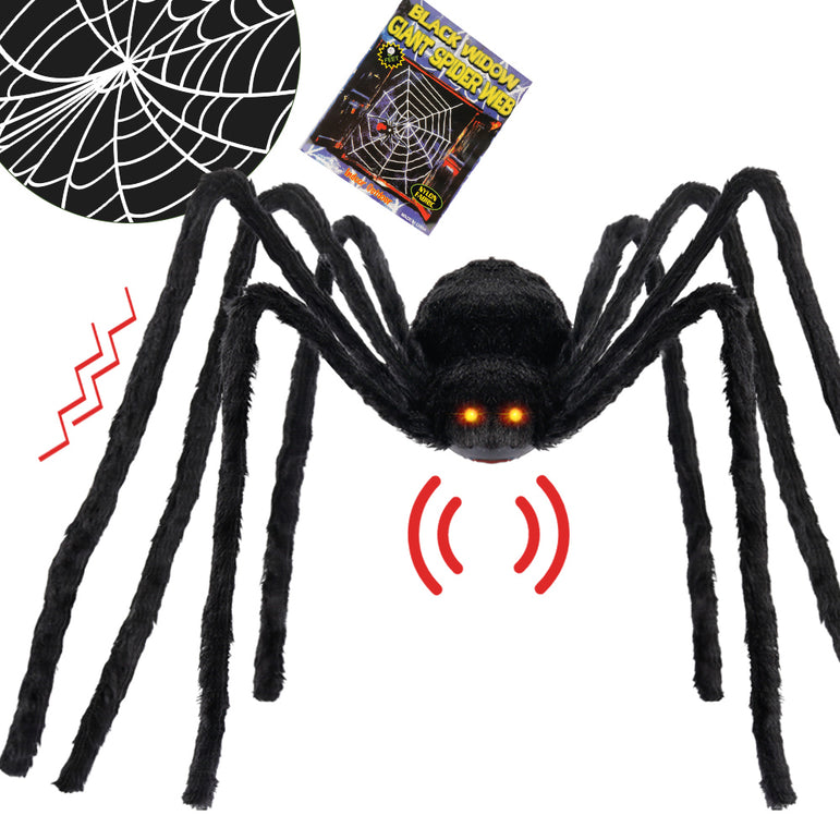D-FantiX Halloween 4 Feet Large Light Up Spider Motion Voice Activated