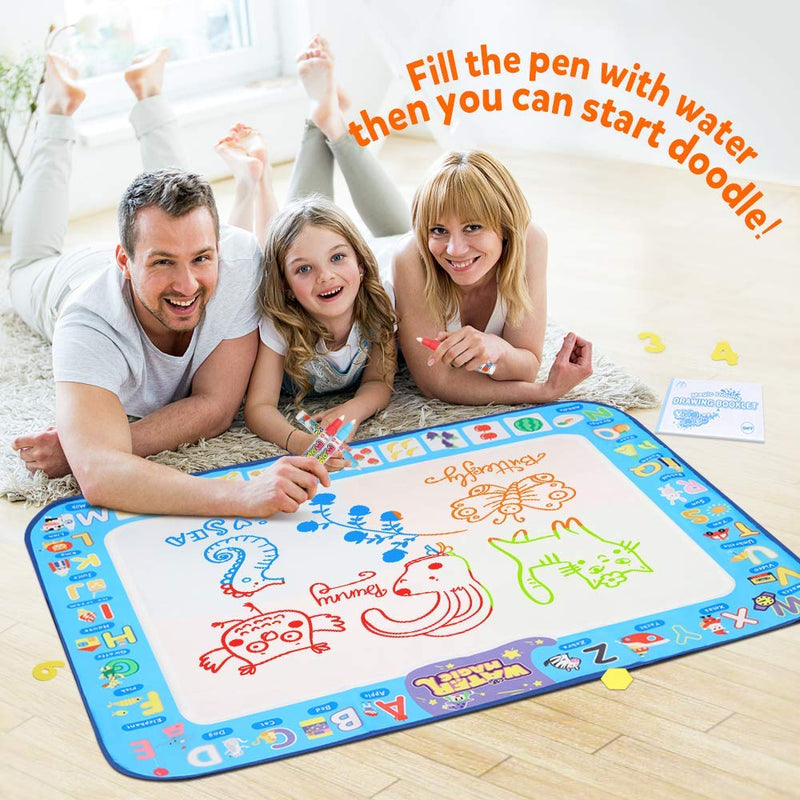 "D-FantiX Water Doodle Mat, Large Water Drawing Mat Kids Magic Doodle Board Painting Writing Pad with 4 Magic Pen Educational Toy Gift for Toddlers Boys Girls 4 Colors 38.5 "" x 30 """