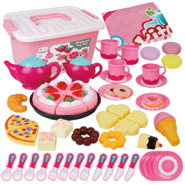 D-FantiX Kids Tea Set for Little Girls, 52Pcs Pretend Play Princess Tea Party Set for Toddlers Toy Tea Playset Play Food Accessories