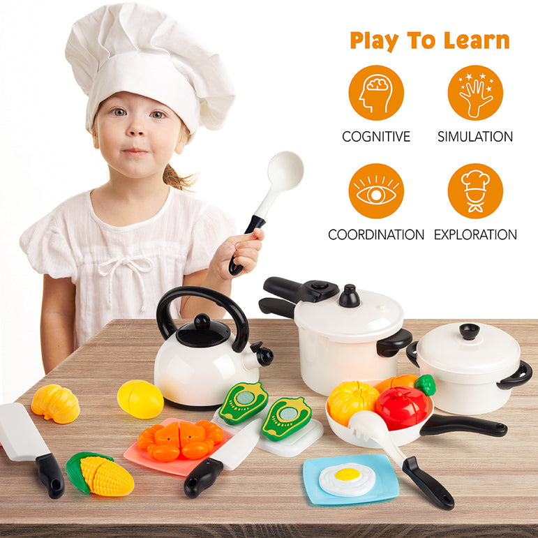 D-FantiX Pretend Play Toy Kitchen Accessories Kids White Plastic Cooking Pots and Pans Food Set