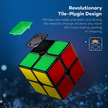 D-FantiX Gan 2x2 Speed Cube 2x2x2 Magic Cube Puzzle Black