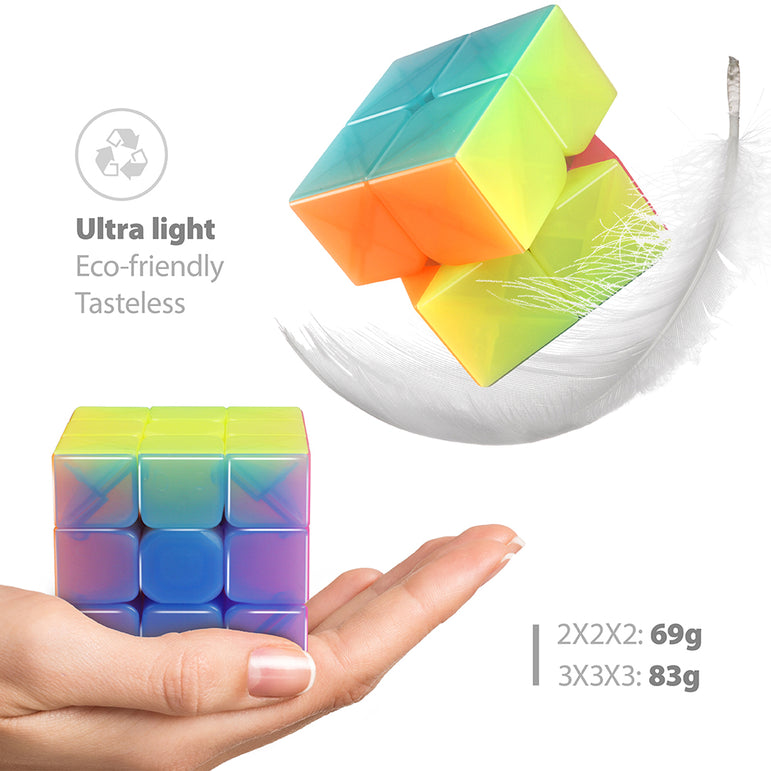D-FantiX Qiyi Jelly Speed Cube Set, Qiyi Qidi S 2x2 Warrior W 3x3 Stickerless