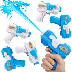 D-FantiX Water Gun 6 Pack, Small Water Blaster Soaker Squirt Guns Bulk for Water Fighting