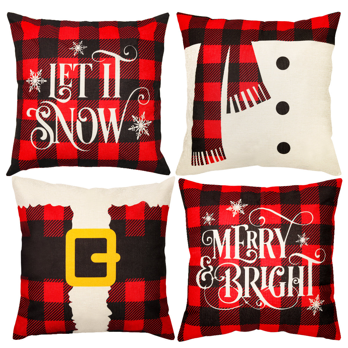 D-FantiX 18x18 Inch Christmas Pillow Covers (Santa & Snowman)