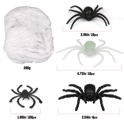 D-FantiX Halloween Spider Web,1000 sqft White Cobwebs with 184Pcs Fake Glow