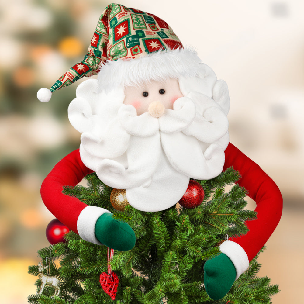 D-FantiX Santa Tree Topper, Large Christmas Tree Topper Santa Hugger Tree