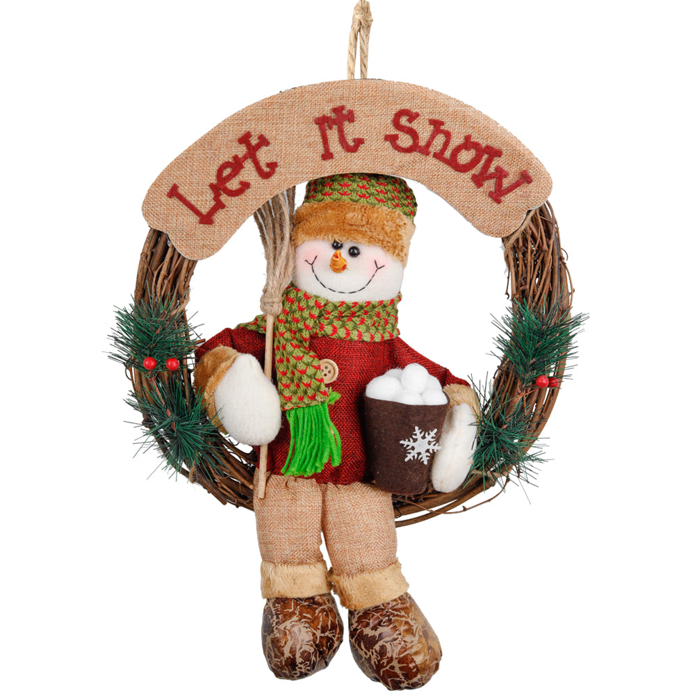 D-FantiX Snowman Christmas Wreath, 14 Inch Artificial Grapevine Wreath