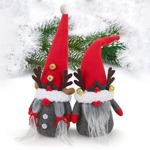 D-FantiX Christmas Gnomes with Bell Reindeer Horns Ornaments