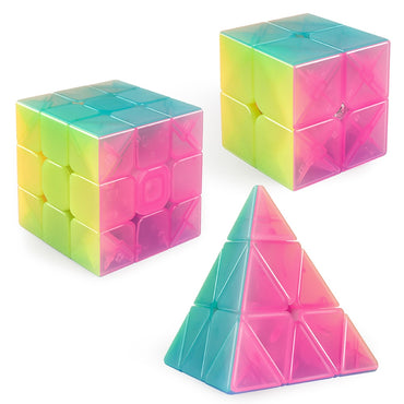 D-FantiX Qiyi Jelly Speed Cube Set, Qiyi Qidi S 2x2 Qiming Pyramid 3x3x3 Warrior W 3x3 Stickerless Magic Cube Bundle Puzzle Toys