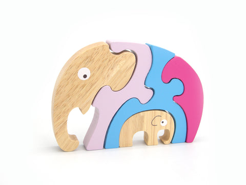stacking jigsaw elephant and baby