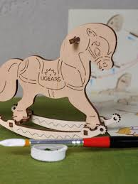 ugears colouring models - rocking horse
