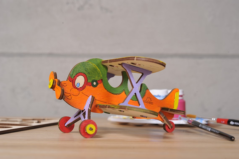 ugears colouring models - biplane