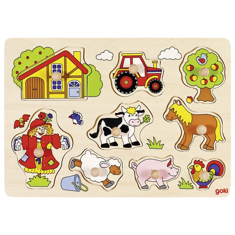Farm animals lift out puzzle 9pc- goki