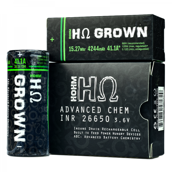 Hohm Tech Hohm Grown 26650 Vape Battery Twin Pack (4200mAh 30A)