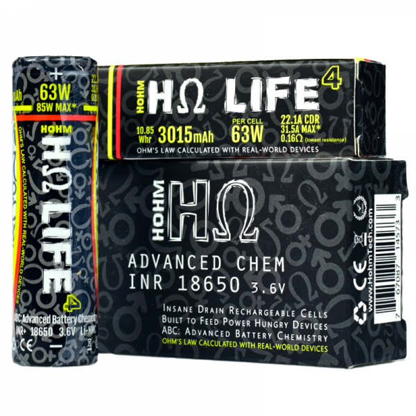 Hohm Tech Hohm Life 18650 Vape Battery Twin Pack (3015mAh 22.1A)
