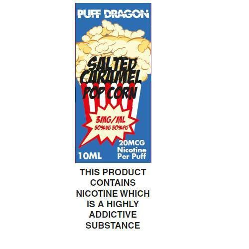 Salted Caramel Popcorn By Puff Dragon TPD Compliant E-Liquid - 10ml