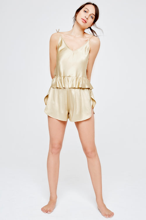 Greta Short Silk Pyjama Set Gold