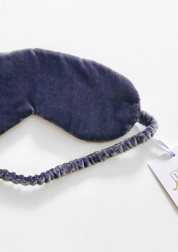 Audrey Velvet Eye Mask In Grey