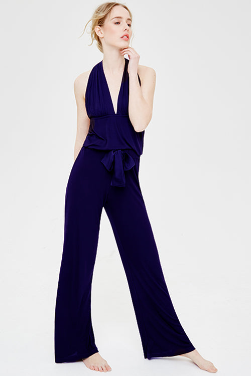 Suki Halter Neck Wide Leg Pyjama Set Midnight Blue