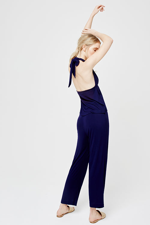 Suki Halter Neck Cropped Leg Pyjama Set Midnight Blue
