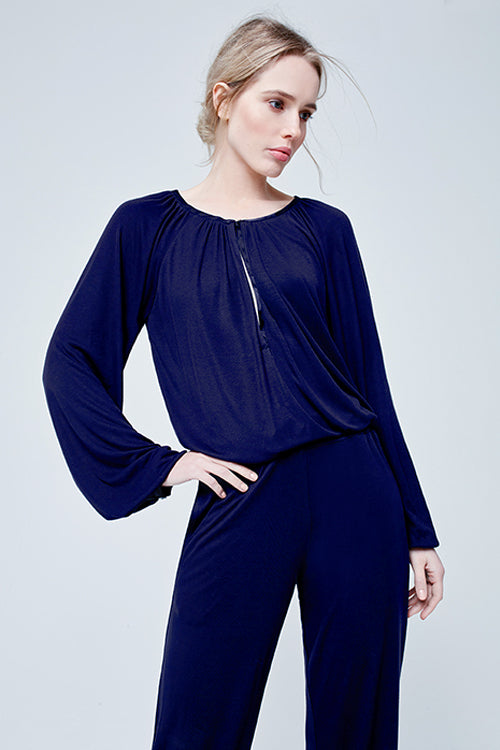 Suki Lucille Long Sleeve Pyjama Set Midnight Blue