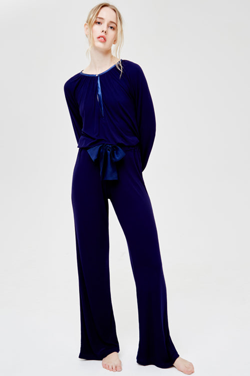 Suki Long Sleeved Pyjama Top and Wide Leg Pant Set Midnight Blue