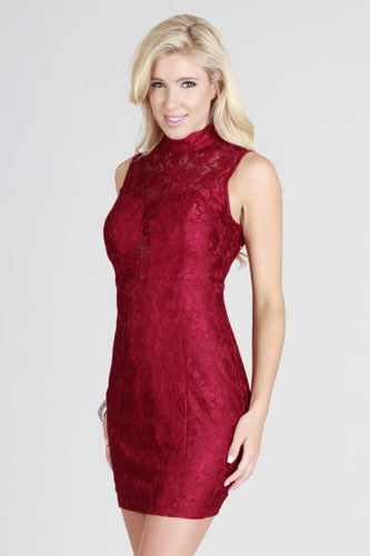 Lace High Neck Sheath Dress
