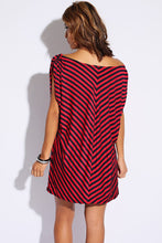 Striped Belted Cape Back Mini Dress