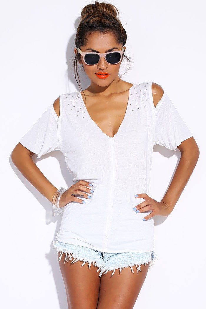 White Bejeweled Open Shoulder Tee