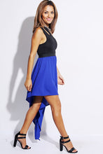 Royal Blue and Black Double Shoulder Dress