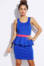 Trimmed Backless Peplum Pencil Dress front