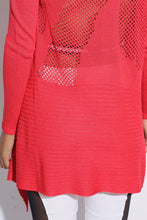 Netting Shawl Neck Cardigan Coral detail