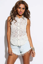 Ivory Sheer Lace Bejeweled Tank Blouse front