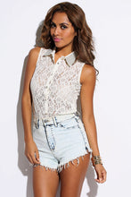 Ivory Sheer Lace Bejeweled Tank Blouse