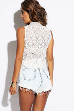 Ivory Sheer Lace Bejeweled Tank Blouse back