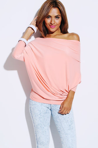 Light Pink Reversible Dolman Sleeve Draped Top