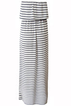 Black and White Striped Frill Top Maxi