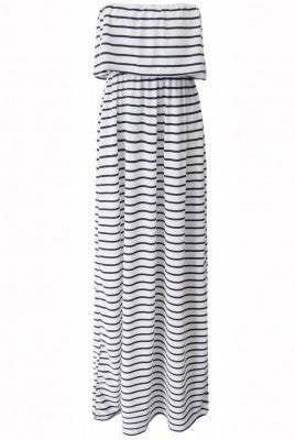 Back and White Striped Frill Top Maxi