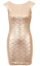 Short Sleeve Sequin Dress Gold