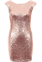 Short Sleeve Sequin Dress Rose Gold