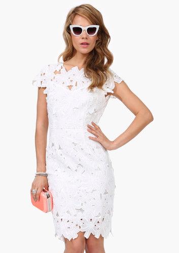 White Crochet Bodycon Dress