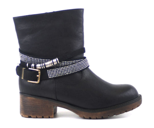Biker Booties With Silver wrap around belt