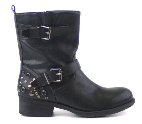 Black Biker Booties with silver studs