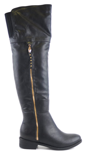 Black Over Knee Boots with Side Zipper