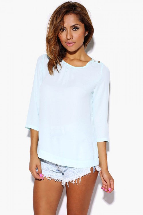 Chiffon Quarter Sleeve blouse Sky Blue