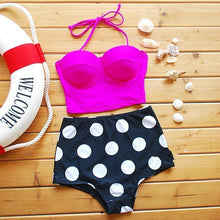 Fuchsia Halter Polka Dot High Waisted Bikini