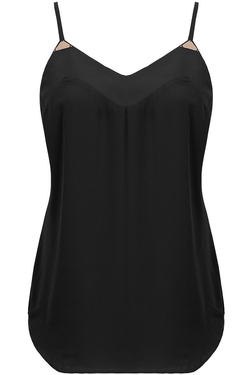 Black Chiffon Cami Gold Top