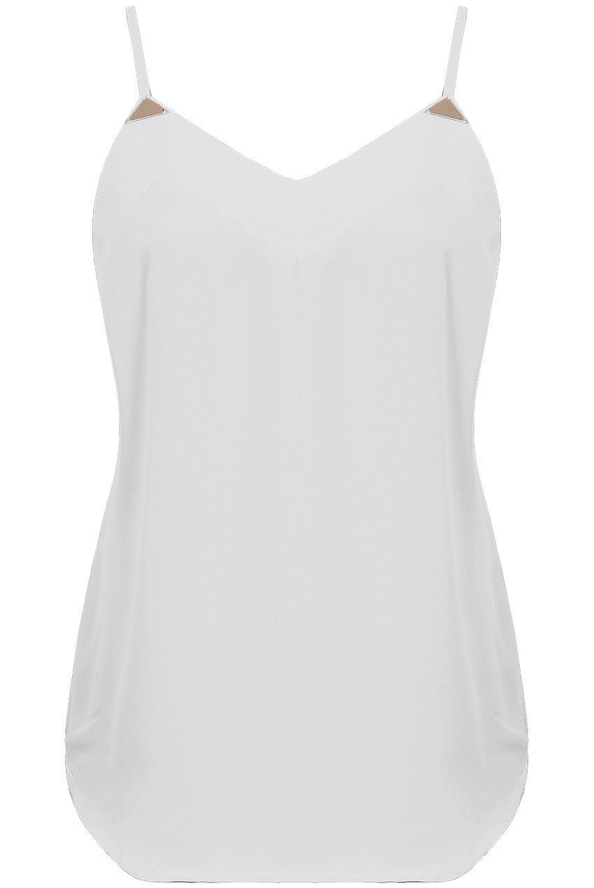 White Chiffon Cami Gold Top