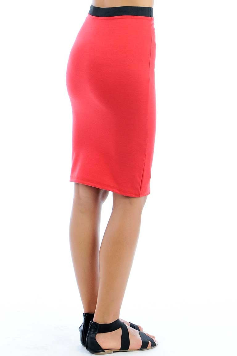 Midi Pencil Skirt Red