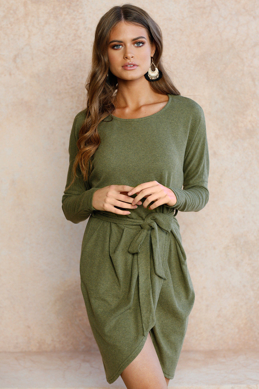 Long sleeved wrap front dress
